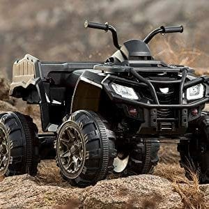 ATV 4-Wheeler Kids Ride On 2 Speeds, MP3 Lights Black Ages 3 Up