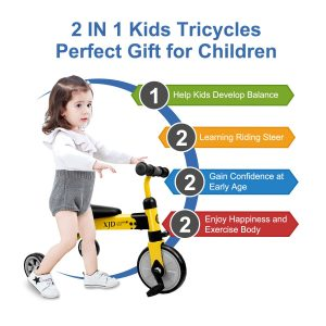 2 in 1 Kids Tricycles Age 2-4 Folding Kids Walking Tricycle Walk Trike