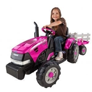 Peg Perego Tractor Ride On Tractor Pink Grass Dirt Gravel Pavement