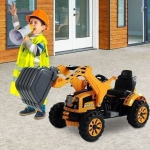 Aosom 6V Construction Excavator Digger Ride On Toy for Kids